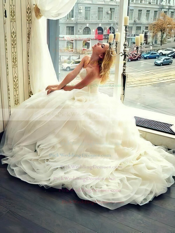 Princess V-neck Organza with Sashes / Ribbons Court Train New Style Wedding Dresses #PWD00022683