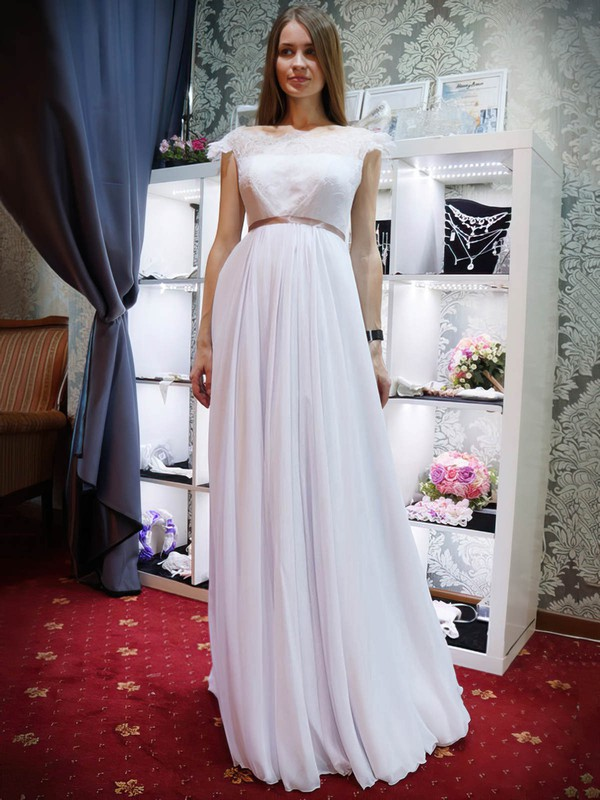 A-line Scalloped Neck Lace Chiffon Sashes / Ribbons Floor-length Promotion Backless Wedding Dresses #PWD00022685
