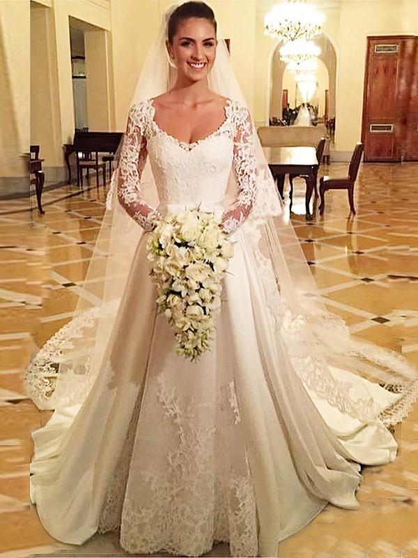 A-line V-neck Satin Tulle Appliques Lace Court Train Vintage Long Sleeve Wedding Dresses #PWD00022686