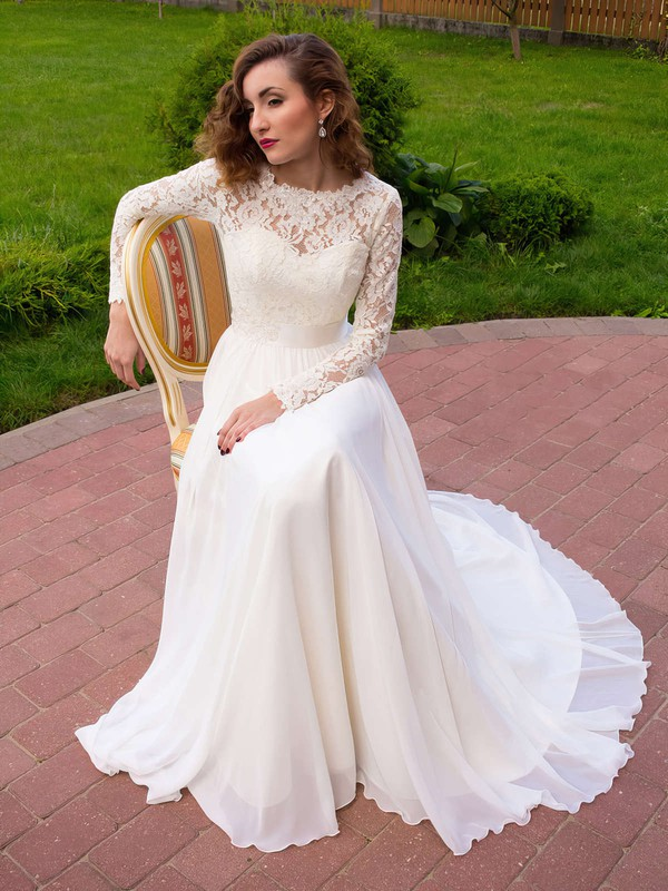A-line Scoop Neck Lace Chiffon Sashes / Ribbons Sweep Train Latest Long Sleeve Wedding Dresses #PWD00022687