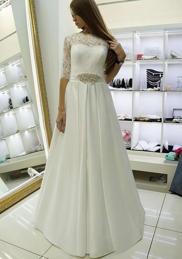 A-line Scalloped Neck Satin Lace Sashes / Ribbons Floor-length Elegant 1/2 Sleeve Wedding Dresses #PWD00022688