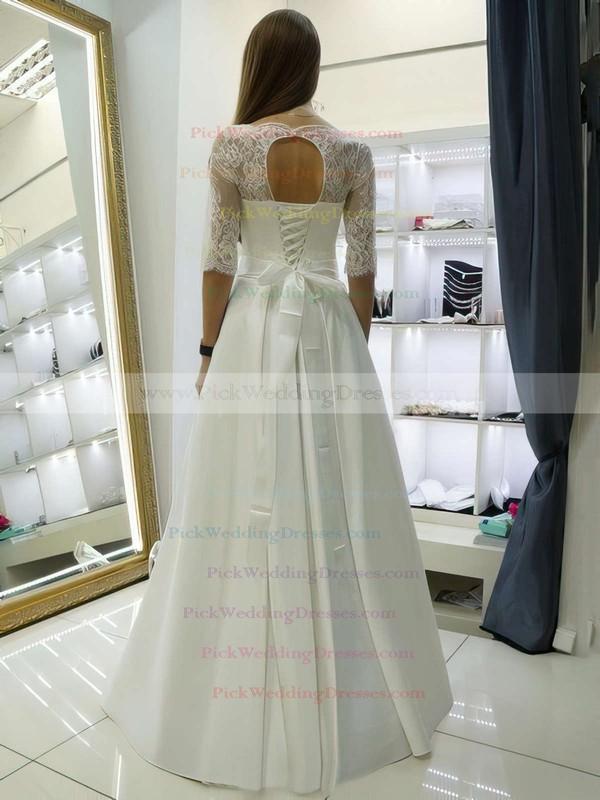 A-line Scalloped Neck Satin Lace Sashes / Ribbons Floor-length Elegant 1/2 Sleeve Wedding Dresses #PWD00022688