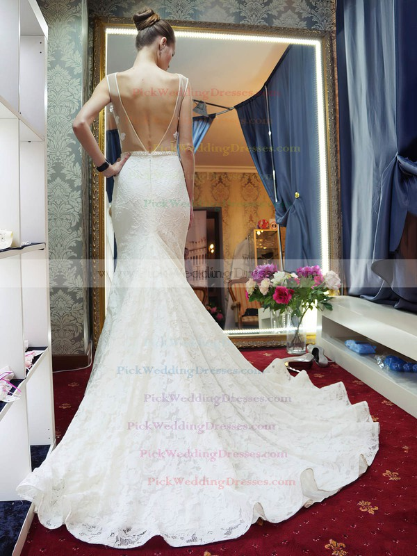 Sexy Scoop Neck Lace Tulle Beading Court Train Backless Trumpet/Mermaid Wedding Dresses #PWD00022689