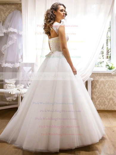 Noble Scoop Neck Tulle with Appliques Lace Floor-length Princess Wedding Dresses #PWD00022690