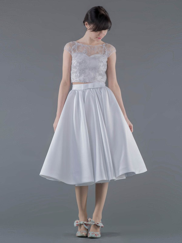 Two Piece A-line Scoop Neck Lace Satin Appliques Lace Tea-length New Arrival Wedding Dresses #PWD00022692