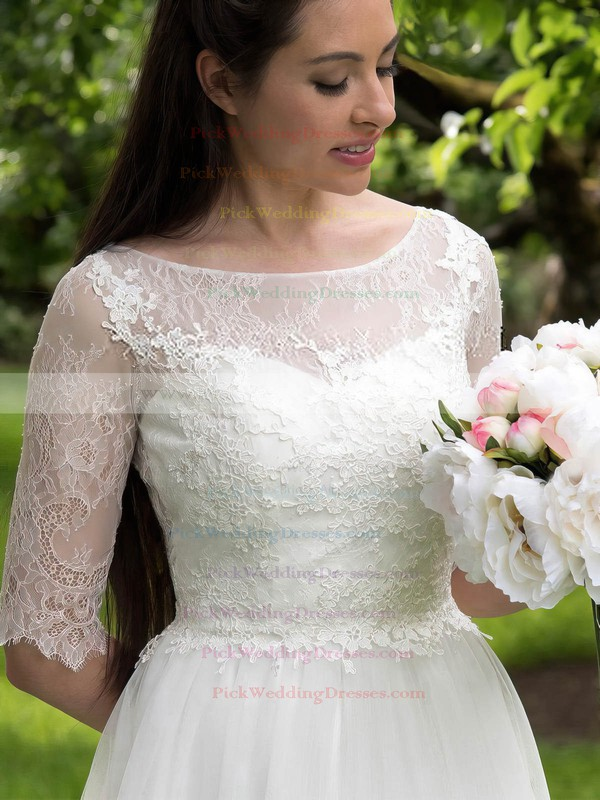 A-line Scoop Neck Tulle Lace Appliques Lace Sweep Train Nice 1/2 Sleeve Wedding Dresses #PWD00022693
