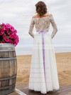 Fashion A-line Lace Chiffon Sashes / Ribbons Floor-length Off-the-shoulder Wedding Dresses #PWD00022694