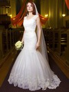 Modest V-neck Tulle Appliques Lace Floor-length Trumpet/Mermaid Backless Wedding Dresses #PWD00022695