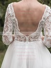Backless A-line Square Neckline Tulle Lace Tea-length 1/2 Sleeve Ladies Wedding Dresses #PWD00022696