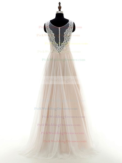 Inexpensive A-line Scoop Neck Tulle with Appliques Lace Floor-length Wedding Dresses #PWD00022697