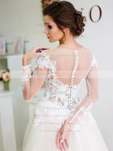 A-line Scoop Neck Tulle Appliques Lace Sweep Train Unique Long Sleeve Wedding Dresses #PWD00022698