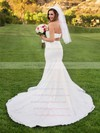 Trumpet/Mermaid Sweetheart Satin Tulle Pearl Detailing Court Train Newest Two Piece Wedding Dresses #PWD00022699