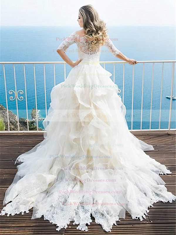 Classy A-line Tulle Lace Cascading Ruffles Court Train Off-the-shoulder 1/2 Sleeve Wedding Dresses #PWD00022700