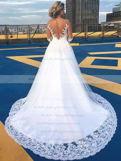 A-line Scoop Neck Tulle Appliques Lace Court Train Beautiful Long Sleeve Wedding Dresses #PWD00022701