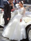Graceful Off-the-shoulder Tulle Appliques Lace Floor-length Ball Gown Long Sleeve Wedding Dresses #PWD00022702