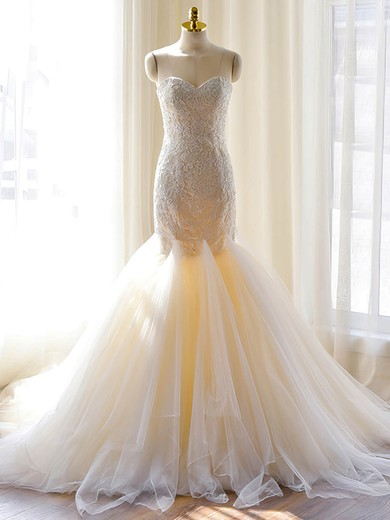 Discounted Sweetheart Tulle with Appliques Lace Court Train Trumpet/Mermaid Wedding Dresses #PWD00022703