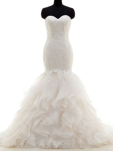 Original Sweetheart Tulle with Lace Sweep Train Trumpet/Mermaid Wedding Dresses #PWD00022704