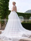 Backless A-line Scoop Neck Tulle Appliques Lace Court Train New Style Wedding Dresses #PWD00022705