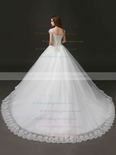Glamorous Sweetheart Tulle with Appliques Lace Chapel Train Princess Wedding Dresses #PWD00022706