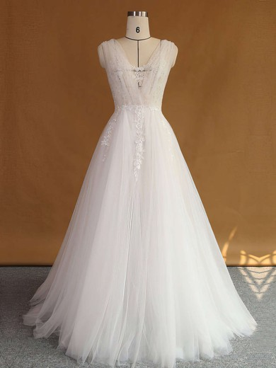Original A-line Tulle with Appliques Lace Sweep Train V-neck Backless Wedding Dresses #PWD00022707