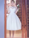 A-line Scoop Neck Tulle Appliques Lace Tea-length Pretty 1/2 Sleeve Wedding Dresses #PWD00022708