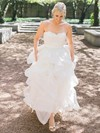 A-line Sweetheart Organza with Appliques Lace Sweep Train Beautiful Wedding Dresses #PWD00022709