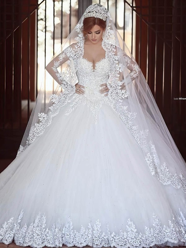 Ball Gown V-neck Tulle Appliques Lace Chapel Train Glamorous Long Sleeve Wedding Dresses #PWD00022710