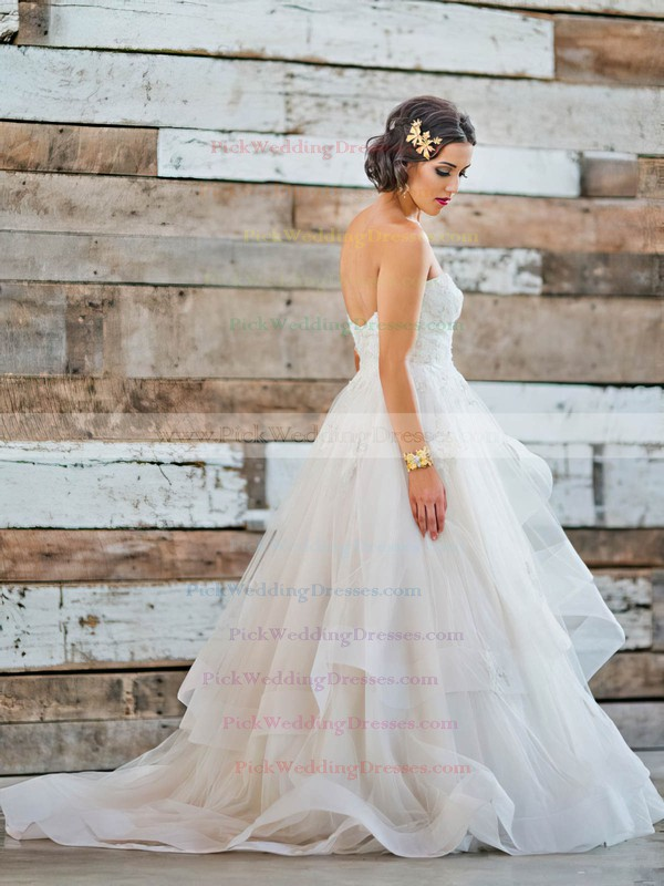 Fabulous Sweetheart Tulle Appliques Lace Sweep Train Princess Backless Wedding Dresses #PWD00022711