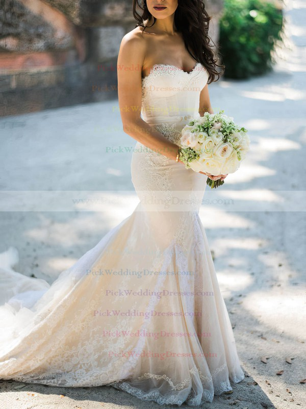 Amazing Sweetheart Lace Tulle Appliques Lace Court Train Trumpet/Mermaid Wedding Dresses #PWD00022712