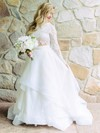 Two Piece A-line Scoop Neck Lace Organza Ruffles Sweep Train Long Sleeve Perfect Wedding Dresses #PWD00022713