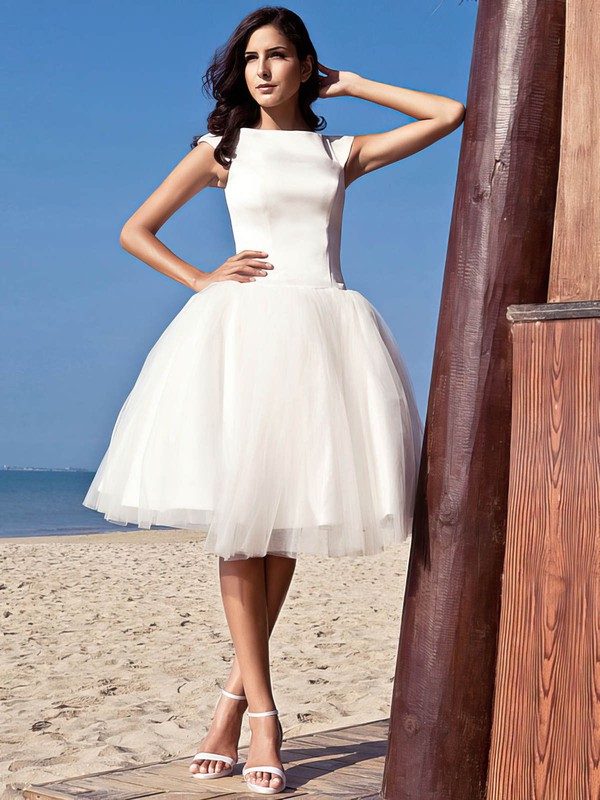 Simple Scoop Neck Satin Tulle with Ruffles Princess Knee-length Wedding Dresses #PWD00022714