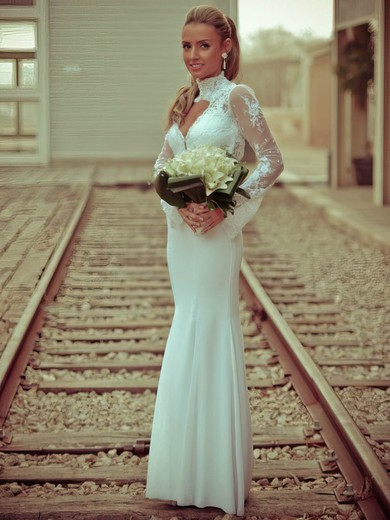 Trumpet/Mermaid High Neck Chiffon Tulle Appliques Lace Floor-length Open Back Famous Long Sleeve Wedding Dresses #PWD00022715