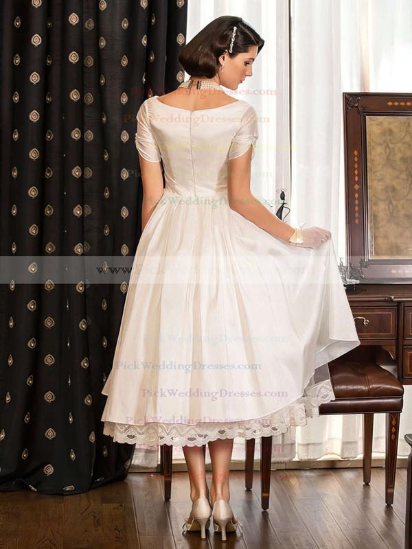 Classy A-line V-neck Taffeta with Lace Short Sleeve Tea-length Wedding Dresses #PWD00022716