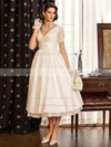 Classy A-line V-neck Taffeta with Lace Short Sleeve Tea-length Wedding Dresses #PWD00022716