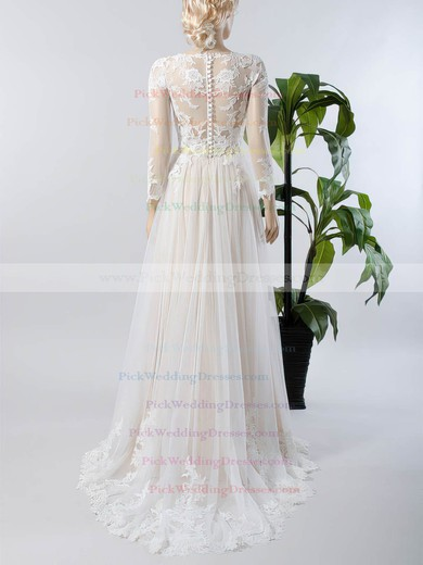 A-line V-neck Tulle Appliques Lace Sweep Train Custom Long Sleeve Wedding Dresses #PWD00022717