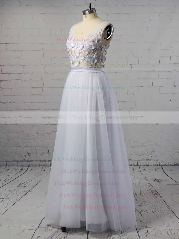 Cheap A-line V-neck Tulle with Appliques Lace Floor-length Backless Wedding Dresses #PWD00022718