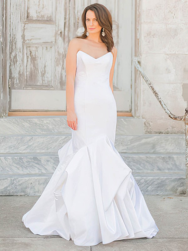 Affordable V-neck Taffeta Pick-Ups Floor-length Trumpet/Mermaid Wedding Dresses #PWD00022719