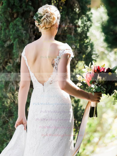 Scoop Neck Lace Tulle Split Front Sweep Train Backless Sexy Sheath/Column Wedding Dresses #PWD00022720