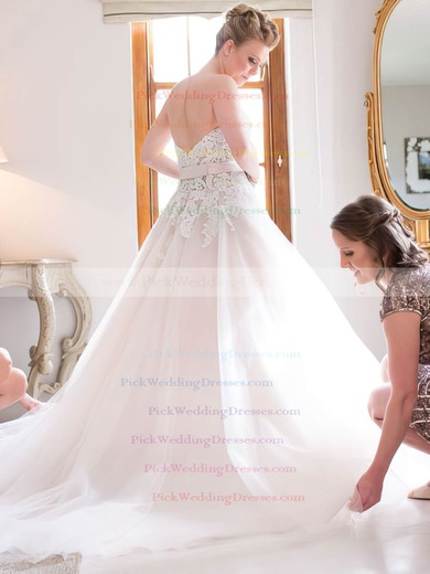 Elegant A-line Sweetheart Tulle with Appliques Lace Court Train Wedding Dresses #PWD00022722