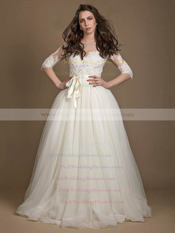 Princess Scoop Neck Tulle Appliques Lace Floor-length New 1/2 Sleeve Wedding Dresses #PWD00022723