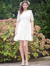 Newest Short/Mini A-line Scoop Neck Satin with Lace 1/2 Sleeve Backless Wedding Dresses #PWD00022724