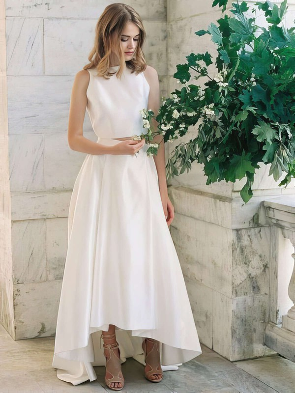 A-line Scoop Neck Satin with Ruffles Asymmetrical Latest Two Piece Wedding Dresses #PWD00022725