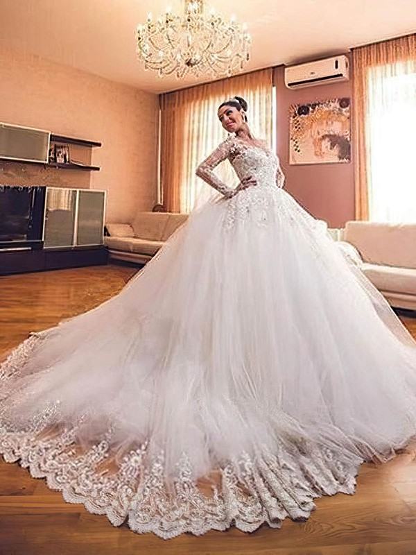 Ball Gown Scoop Neck Tulle Appliques Lace Chapel Train New Arrival Long Sleeve Wedding Dresses #PWD00022727