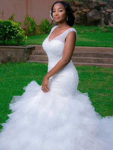 Stunning V-neck Tulle Beading Chapel Train Trumpet/Mermaid Backless Wedding Dresses #PWD00022728