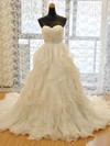 Original A-line Sweetheart Organza with Beading Court Train Wedding Dresses #PWD00022730