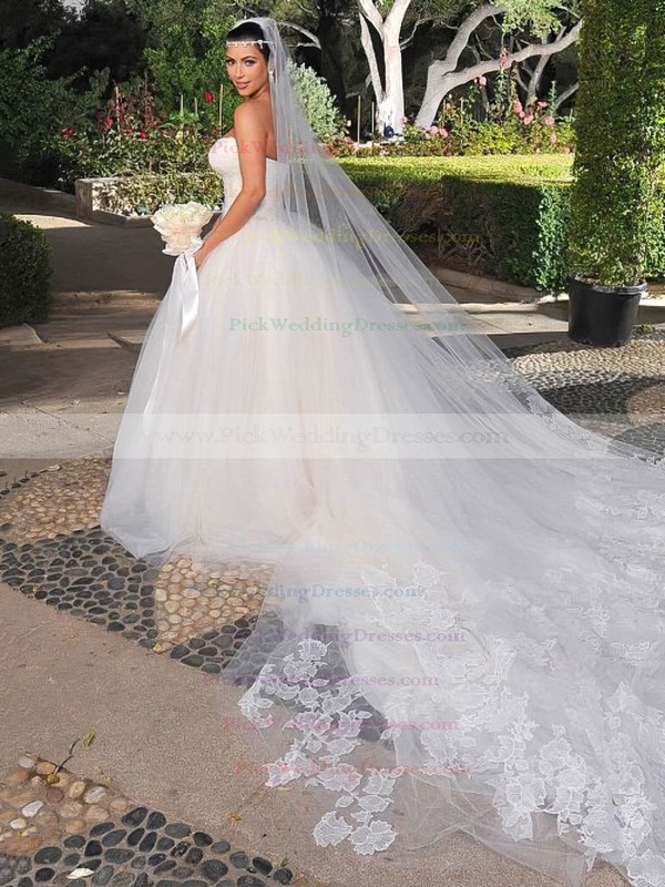 Boutique Ball Gown Tulle with Lace Chapel Train Strapless Wedding Dresses #PWD00022731