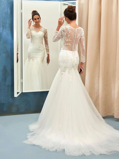 Trumpet/Mermaid Scoop Neck Tulle Appliques Lace Sweep Train Online Long Sleeve Wedding Dresses #PWD00022732