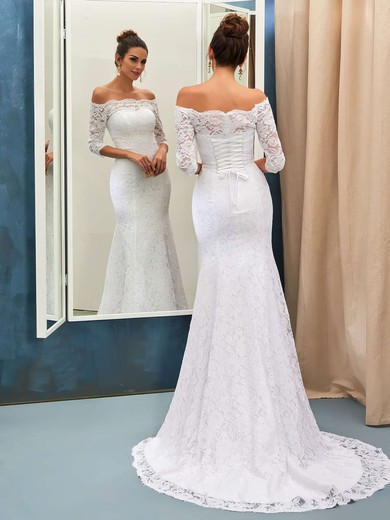 Top Off-the-shoulder Lace Sweep Train Trumpet/Mermaid 3/4 Sleeve Wedding Dresses #PWD00022733