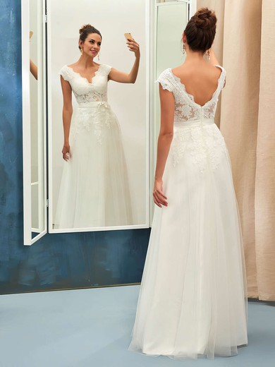 Backless A-line V-neck Tulle with Appliques Lace Floor-length Nice Wedding Dresses #PWD00022734