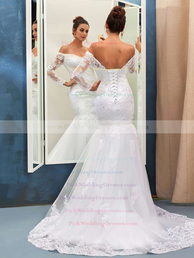 Nicest Trumpet/Mermaid Tulle Appliques Lace Sweep Train Off-the-shoulder Long Sleeve Wedding Dresses #PWD00022735
